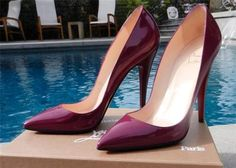 Christian Louboutin Dark Purple Patent Pigalle 120mm Pointy Toe Heels Size 40