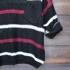 chunky oversized stripe knit boyfriend sweater in black - shophearts - 4