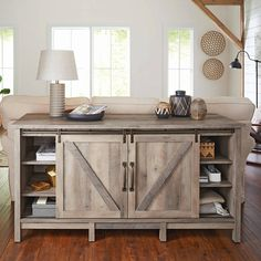 "Better Homes & Gardens Modern Farmhouse TV Stand for TVs up to 60"", Rustic Gray Finish - Walmart.com"