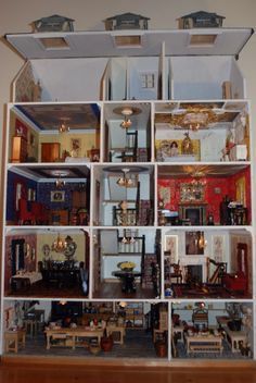 Dolls House Rare Collectable Deneway 5 Floors and 14 Rooms 1/12th Scale | eBay (click for close up of rooms)