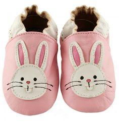 skinntøfler til barn med kaniner | baby leather shoes