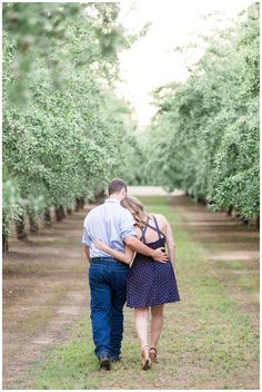 Orchard Engagement Portrait | couple walking off into the distance together