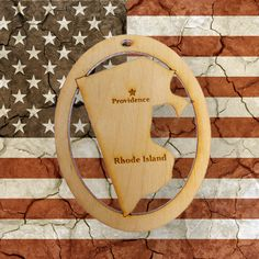 Beautifully Handcrafted Rhode Island Christmas Ornament! Personalized Free!