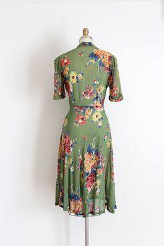 vintage 1930s dress // 30s sheer floral dress
