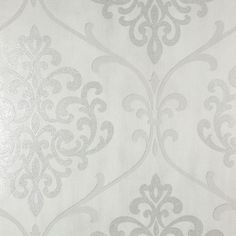 Kenneth James 56 sq. ft. Ambrosia Silver Glitter Damask Wallpaper-2542-20717 - The Home Depot