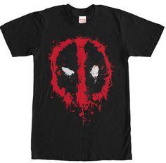 Deadpool Splatter Shirt - Mens Black Tshirt