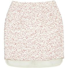 Pre-owned Giambattista Valli Mini Skirt (265 CAD) ❤ liked on Polyvore featuring skirts, mini skirts, white, women clothing skirts, short white skirt, slip skirt, polka dot skirts and white slip