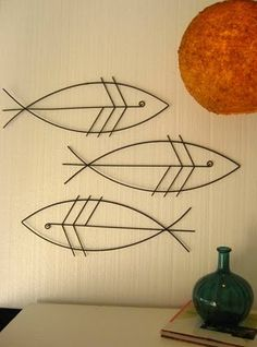 Add to your tripled metal welding crafts Metal Sculpture Artists, Fish Sculpture, Steel Sculpture, Wall Sculptures, Fish Wall Art, Fish Art, Stylo 3d, Welding Art Projects, Welding Ideas