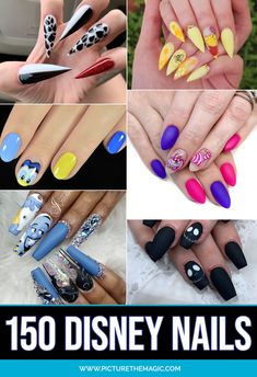 disney nail designs More than 150 Disney Nails! Take this list of Disney nail design ideas to your next manicure and your nails will look amazing. Funky Nail Art, Funky Nails, Dope Nails, Cool Nail Art, Disney Acrylic Nails, Long Acrylic Nails, Disney Nail Designs, Acrylic Nail Designs, Simple Disney Nails