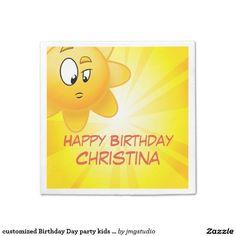 customized Birthday Day party kids napkin