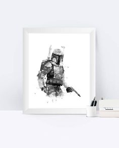jango Fett Art Print Watercolor Black and white Star Wars