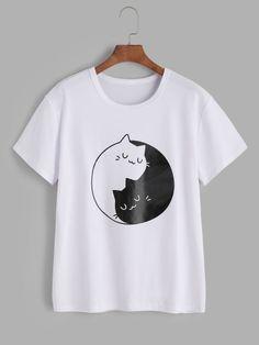 Camiseta estampada de gatos