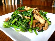 Chicken and Chinese Broccoli. In Asian markets Chinese broccoli is called gai lan or kai lan. ♥ The Woks of Life