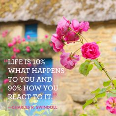 """""""Life is 10% what happens to you and 90% how you react to it."""""""