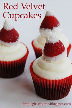 Red Velvet Cupcakes with Strawberry Santa Hats!
