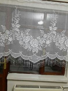 Perde Crochet Curtain Pattern, Crochet Curtains, Crochet Doily Patterns, Curtain Patterns, Crochet Borders, Crochet Motif, Crochet Doilies, Crochet Placemats, Crochet Table Runner