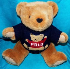 Vintage Ralph Lauren 1997 Jointed Plush Teddy Bear 15 in Navy Blue Polo Sweater  #RalphLauren