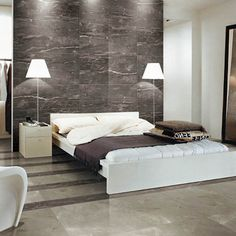 A modern lounge featuring CLOUD GREY marble effect porcelain floor