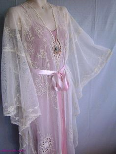 1920s Antique French Net Tambour Lace Negligee.