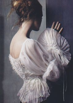 Donna Karan Collection , white silk wraparound blouse,Renaissance Re-visited