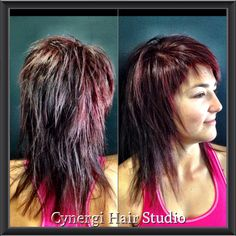 Long hair, short layers, red claret colour, pixie fringe, Cynergi hair studio Dalby