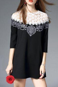 Dezzal - Dezzal Mini Embroidered Openwork Dress - AdoreWe.com