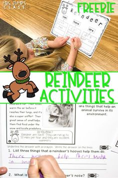 Nonfiction close reading passages and activities to have fun learning about reindeer in kindergarten and first grade. Reading, writing, and crafts! #reindeeractivities #decemberlessonideas