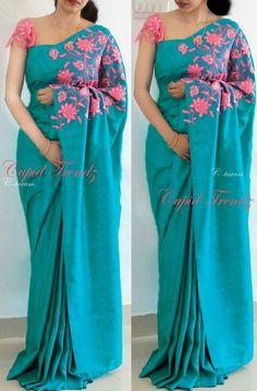 Silk Saree Blouse Designs, Saree Blouse Patterns, Fancy Blouse Designs, Blouse Neck Designs, Latest Blouse Designs, Trendy Sarees, Stylish Sarees, Simple Sarees, Saris
