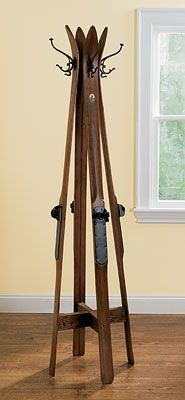 X country skis to vintage looking coat rack
