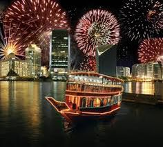 Fireworks lit up the sky above an illuminating Dhow Cruise. #Dubai #UAE #DhowCruise #Travel #Tourism #Dinner http://www.iconicdubai.com/