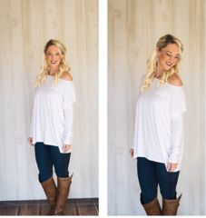 Long Sleeve White Piko - Anchored Hope Boutique  - 1