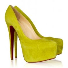 Christian Louboutin Daffodile (Yellow )Suede Platform Pumps, Leather Shoes