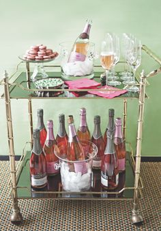 Pink Champagne Bar Cart - great for a Valentine's day brunch Brass Bar Cart, Gold Bar Cart, Bar Cart Styling, Bar Cart Decor, Cheers, Mini Bar, Wine Cart, Drinks Trolley, Cocktail Trolley