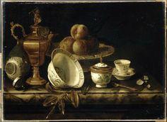 Pieter Gerritsz. van Roestraeten, Fruit et vaisselle sur une table de marbre. Musee municipal de Melun. Maison de la Vicomte