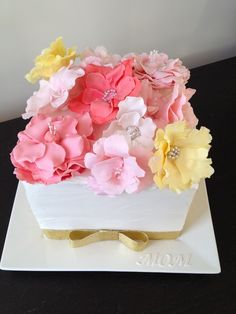 Such a Beautiful Mothers Day Cake with Flowers, Vanilla buttercream frosted, and fantasy flowers!