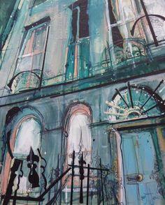 Blue Door or Charlotte Square, West End, Mixed Media. Urban Landscape, Landscape Art, Landscape Paintings, Landscapes, Architecture Artists, Georgian Architecture, Gcse Art Sketchbook, Building Art, Sense Of Place