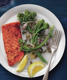 Coriander Salmon With Caper Broccolini from realsimple.com #myplate #protein #vegetables