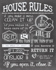 House Rules printable chalkboard sign. You can find 109 Best Trave Quotes to inspire every traveler at http://hostelgeeks.com/travel-quotes/ #hostel #design #designideas