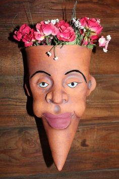Moon Face 3 hand crafted stoneware planter by WeedpatchPotheads