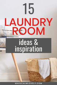 15 Laundry Room Ideas & Inspiration for Style & Storage - Make Calm Lovely Small Laundry Area, Large Laundry Rooms, Farmhouse Style Table, Faux Brick Walls, Dog Shower, Laundry Room Organization, Hanging Curtains, Wooden Shelves, Beautiful Space