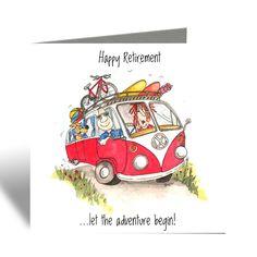 Retirement Card - Motorhome card - Camilla & Rose Blank Greeting Card Happy Retirement, Retirement Cards, Funny Birthday Cards, Birthday Greeting Cards, Funny Cards For Friends, Camilla Rose, Leaving Work, Brown Envelopes, Red Envelope