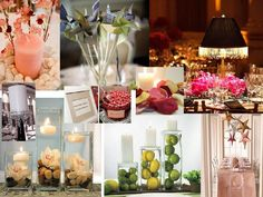 Wedding tables decoratied with candles and other items