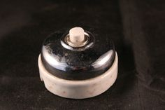 Vintage French chrome and ceramic door bell push. c1930 Still works. 2 of 2