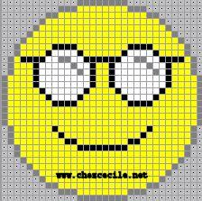 ~~Motifs pour le Point de Croix : Les Smileys~~ C2c Crochet, Crochet Stitches, Emoji Blanket, Pixel Art, Emoji Craft, Baby Boy Knitting Patterns, Baby Mickey Mouse, Melting Beads, Bobble Stitch
