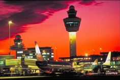 Beautifully sunset at Amsterdam Schiphol Airport!