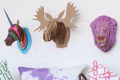 DIY Cardboard Animal Bust Project   Kids Crafts   Decor