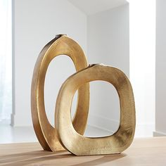 Elodie Brass Ring Vases | Crate and Barrel
