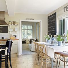 Use dining accessories to zone a shabby chic kitchen