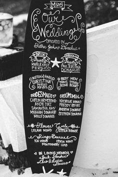 menú tabla de surf caligrafía