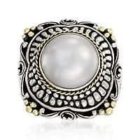 """""""Balinese 13mm Cultured Mabe Pearl Ring In Sterling Silver and 14kt Yellow Gold. Size 5"""": """"This… #Jewelry #ClearanceJewelry #DiscountJewelry"""